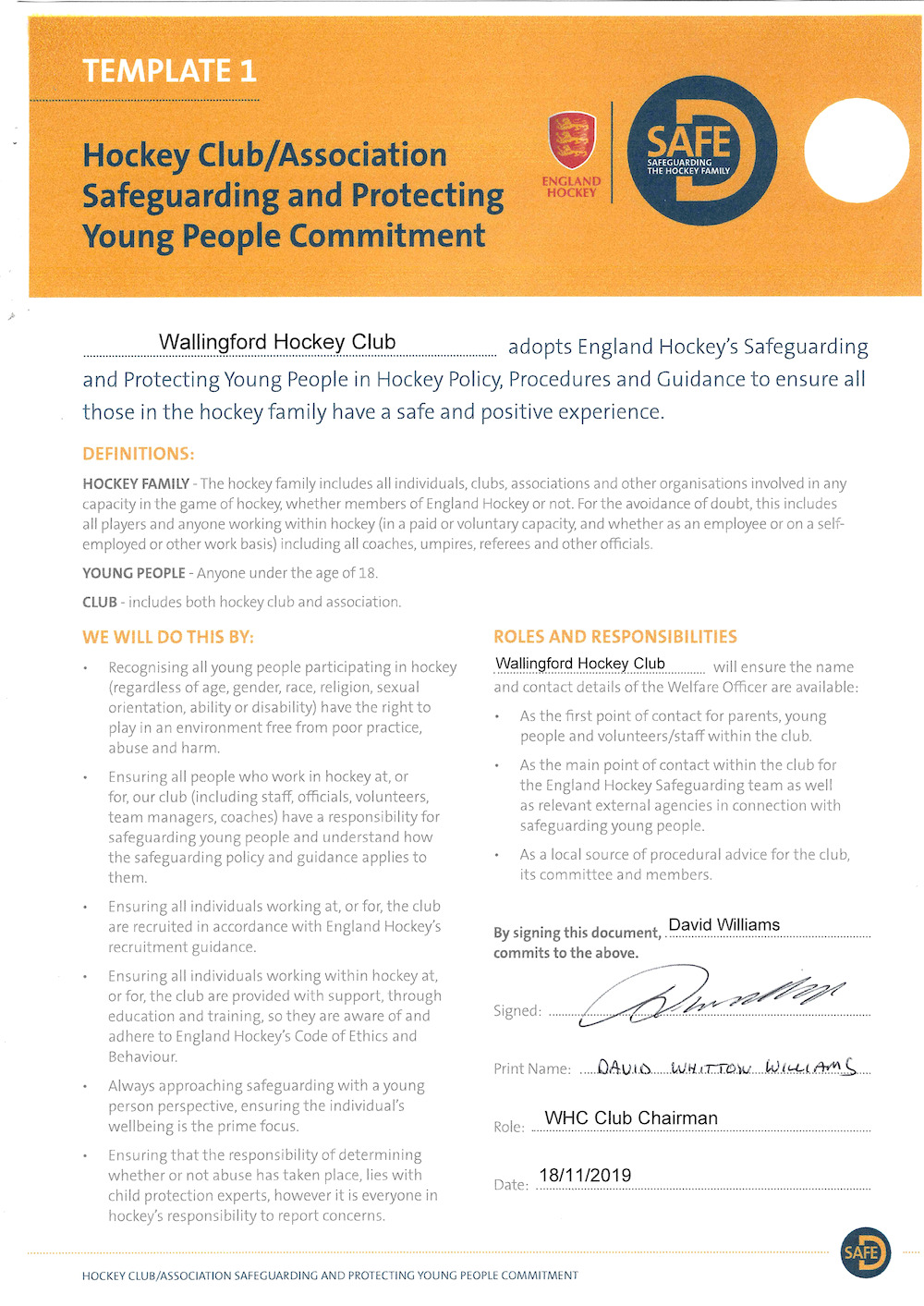 Safeguarding and Protecting Young People Policy Certificate
